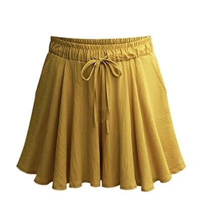 SHANFENGSHIYEJPSD Pantalones Cortos Delgados de Gran tamaño, Cintura Alta, Pantalones Cortos Casuales 4 Colores (S-6XL) Amarillo Jengibre XL: Ropa y accesorios