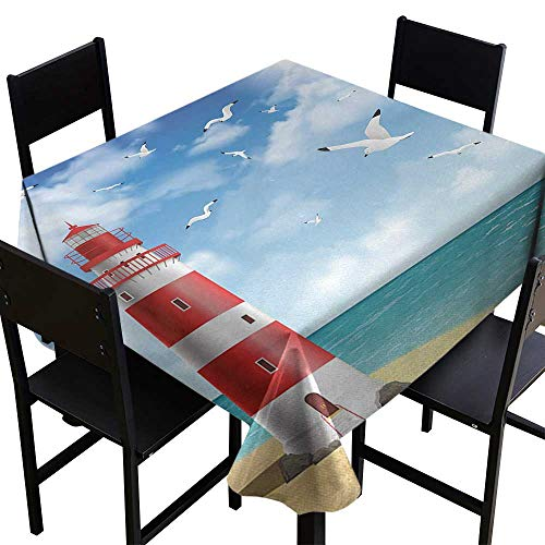 (Glifporia Square Tablecloth Wood Beach,Realistic Illustration Lighthouse on Calm Seashore Flying Seagulls Ocean Scenery,Vermilion Blue,W60 x L60 for Wedding Reception Nave Blue)