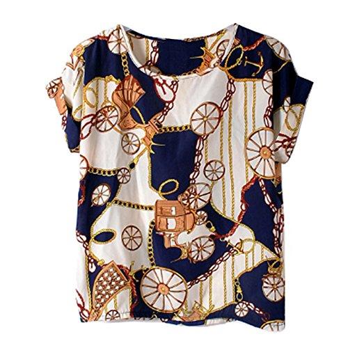 Manches Souris Gros Vobaga Haut Courtes shirts Mousseline Coeur blouses en T Chemisiers Chauve Soie Roues de Impression Femme oiseau qTq6Owvr
