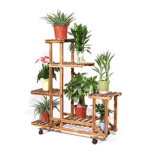 UNHO Solid Wood 6 Tires Flowers Rack Plant Shelves Stand Natural Wooden Bonsai Display Shelf Wheels for Indoor Outdoor Yard Garden Patio Balcony by UNHO