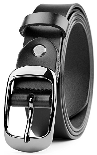 """Whippy Women's Leather Casual Belt for Jeans Summer Dress Belt 1.1"""" Wide with Shiny Buckle, Enclosed in Gift Box - Ladies Black Belt"""