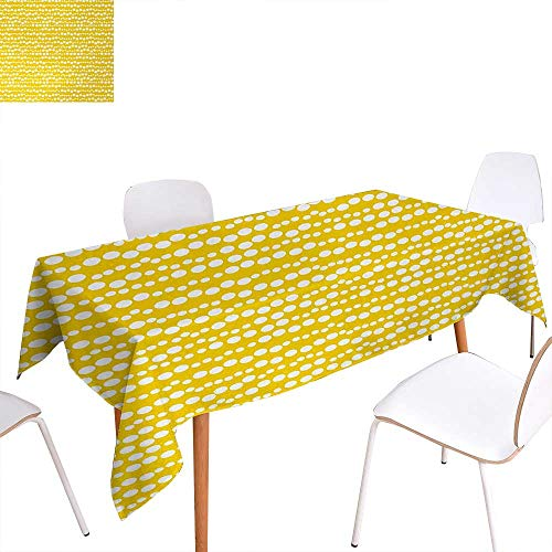 - Warm Family Yellow and White Printed Tablecloth Modern Design Bubble Inspired Circles Rounds Big Little Dots Rectangle Tablecloth 60