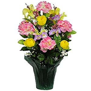 Pink Peony and Yellow Ranunculus Artificial Weighted Potted Bouquet (PT1162) 30