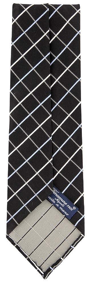 New Finamore Napoli Black Silk Tie