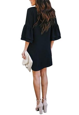 08c0170f6a14 BELONGSCI Women's Dress Sweet & Cute V-Neck Bell Sleeve Shift Dress Mini  Dress at Amazon Women's Clothing store: