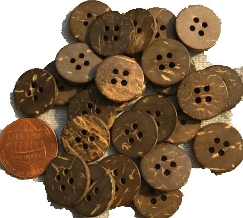 24 Natural Coconut Shell 4-hole Sew-through Shirt Buttons 5/8'', 15MM Lot # 3689