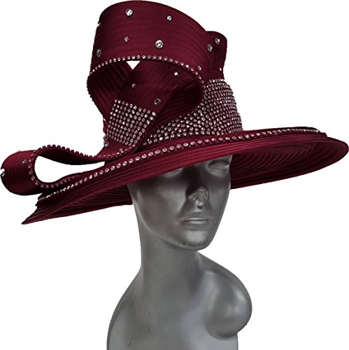 Swan Hat Women's Wine Church Hat Dressy Formal Satin Ribbon All Year Around Hat by Swan Hat