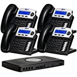 X16, Small Office Phone System with 4 Charcoal X16 Telephones - Auto Attendant, Voicemail, Caller ID, Paging & Intercom