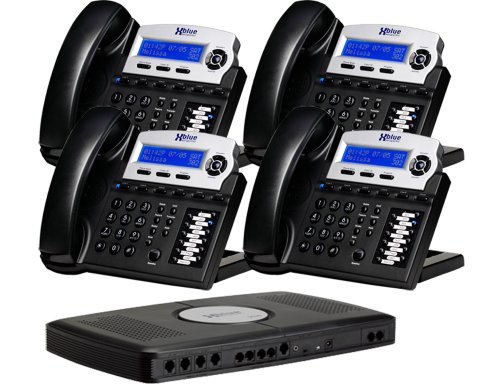 4 Telephone Line System - X16, Small Office Phone System with 4 Charcoal X16 Telephones - Auto Attendant, Voicemail, Caller ID, Paging & Intercom