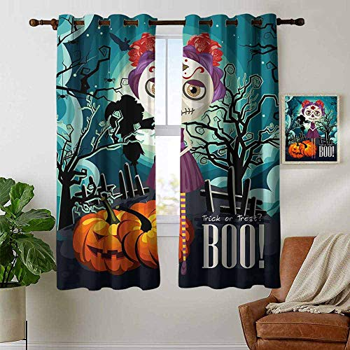 petpany Blackout Curtains Halloween,Cartoon Girl with Sugar Skull Makeup Retro Seasonal Artwork Swirled Trees Boo,Multicolor,Thermal Insulated Panels Home Décor Window Draperies for Bedroom 42
