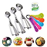Cookie Scoop Stainless Steel Ice Cream Scoop Set of 3 for Baking with 5 Measuring Spoon Kit-Dishwasher Safe