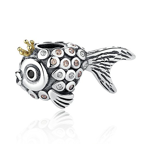Everbling Wonderful Ocean Underwater World Shark Tropical Fish 925 Sterling Silver Bead for European Charm Bracelet (King of Sea Fish)