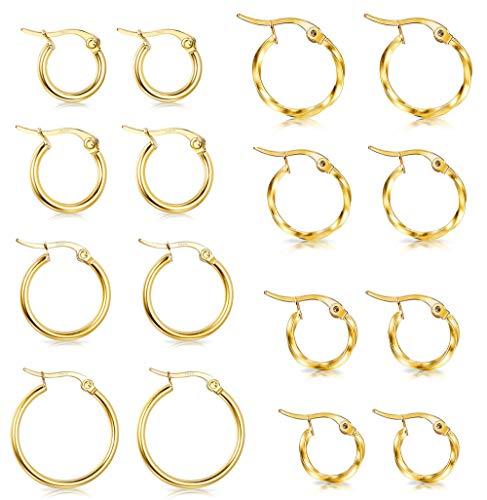 Hanpabum 8 Pairs 2 Style Stainless Steel Round Hoop Earrings For Women Twisted Gold Tone Hoop Earrings Set 10mm/12mm/15mm/20mm