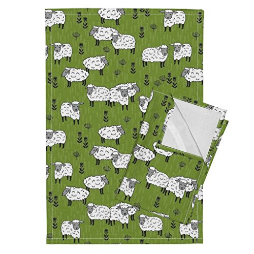 Sheep Grass Sheep Fabric Farm Farm Animals Tea Towels Sheep Fabric Moss Green Farm by Andrea Lauren Set of 2 Linen Cotton Tea Towels by Roostery