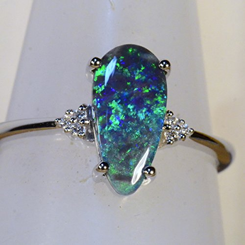 18k white gold solid black opal & diamond engagement / dress ring