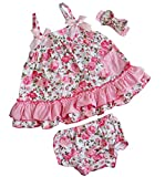 Kirei Sui Baby 2 Piece Light Pink Rose Swing Top Bloomer Set and Headband Medium Pink