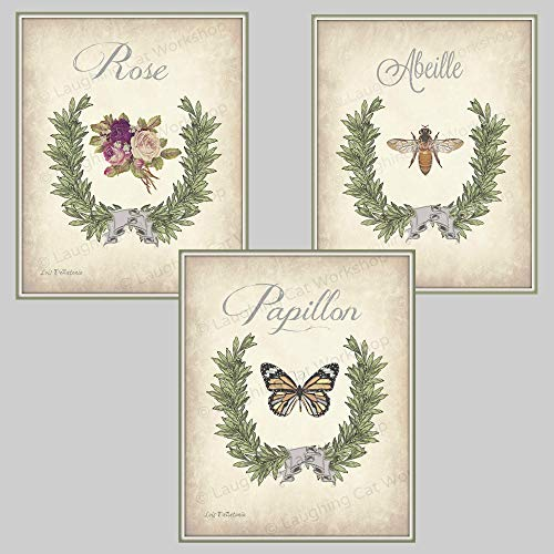 Garden Botanical Print set of three, French Country Bathroom decor Butterfly art Bee Art print Rose wall art Shabby Chic bedroom decor Cottage Chic wall decor retro Antique Vintage Home ()