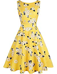 Vintage Tea Dress 1950's Floral Spring Garden Retro Swing Prom Party Cocktail Dress for Women
