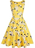 OWIN Women's 1950s Vintage Floral Swing Party Cocktail Dress with Butterfly Pattern (S, Yellow&White)