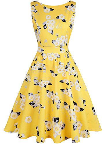IHOT Vintage Tea Dress 1950's Floral Spring Garden Retro Swing Prom Party Cocktail Dress for Women ()