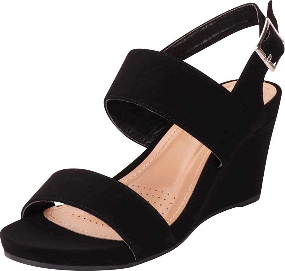 Black Nbpu Cambridge Select Women's Classic Two-Strap Slingback Chunky Platform Wedge Sandal