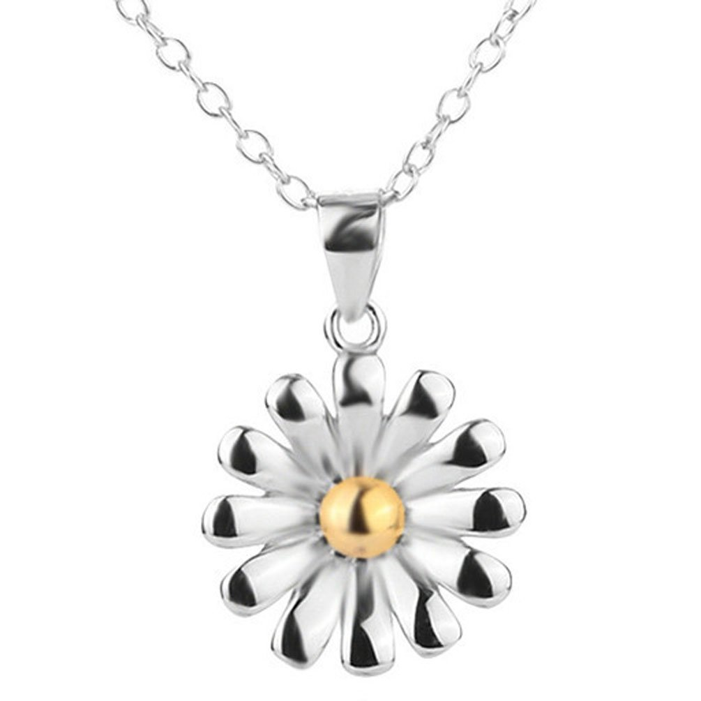 Sojewe 925 Sterling Silver Chrysanthemum Necklace Flower Pendant Platinum plated Chain 40-45cm//15.7-17.7in
