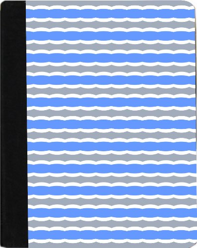 Rikki Knight Blue and Grey Swirly Stripes Faux Leather Case for Apple iPad Mini (Not for iPad mini (Swirly Stripe)