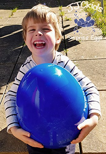 JJCkids 14 Inch Giant Blue Plastic Egg Jumbo Mega Surprise Eggs - YouTube Birthday Gift (Blue Giant Egg)