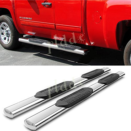 "PLDDE 2pcs 5"" Oval Tube Chrome Stainless Steel Side Step Nerf Bars Running Boards + Brackets Fit 99-18 Chevy Silverado/GMC Sierra 1500/2500/3500 Extended/Double Cab With 2 Half Size Rear Doors"