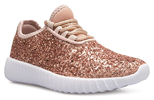 Girls Brown Sneakers (OLIVIA K Kids Girls Boys Easy On Casual Fashion Sparkly Glitter Sneakers - Comfort, Lightweight)