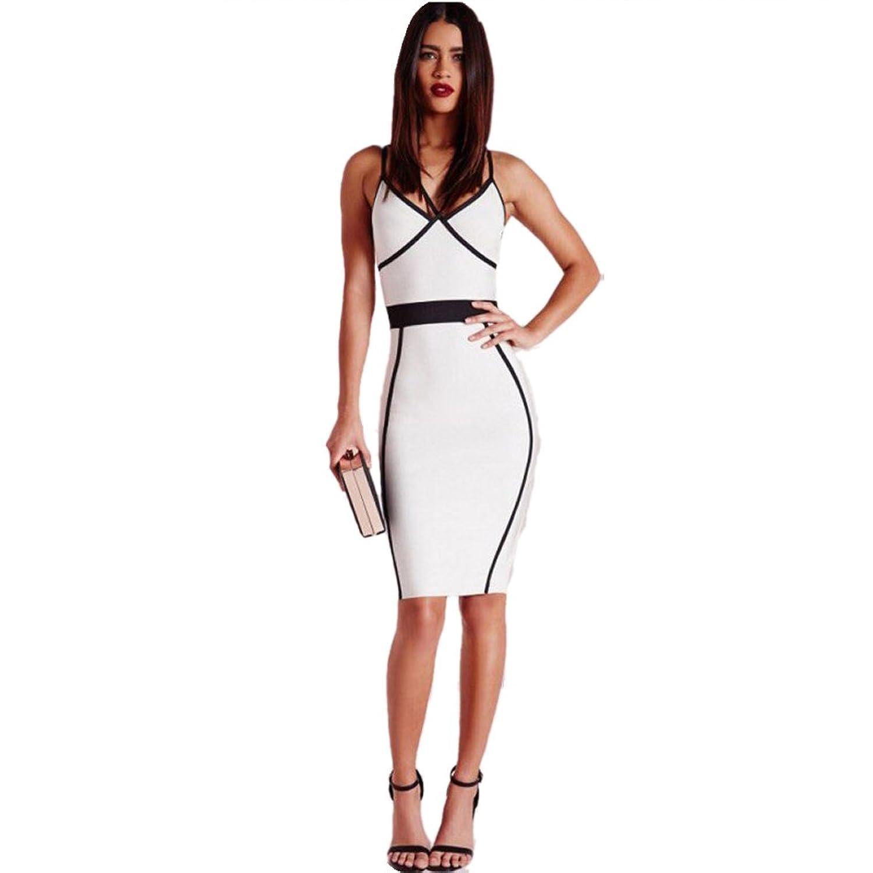 Haoduoyi Women Fashion New Mini Dress Sexy Backless V-neck Bodycon Slip Pencil Dress
