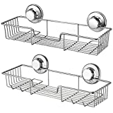 iPEGTOP Suction Shower Caddy Bath Organizer Basket Soap Dish Holder with Hooks- 304 Stainless Steel for Bathroom Accessories Storage, 2 Pack