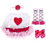 Baby Girls 4PCs 1st Birthday Tutu Dress Onesie Headband Outfit Shoes Leggings