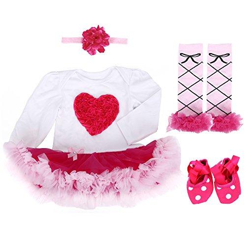 TANZKY® Baby Girls' 4PCS Love Heart Bodysuit Newborn Tutu Party Dress 9M