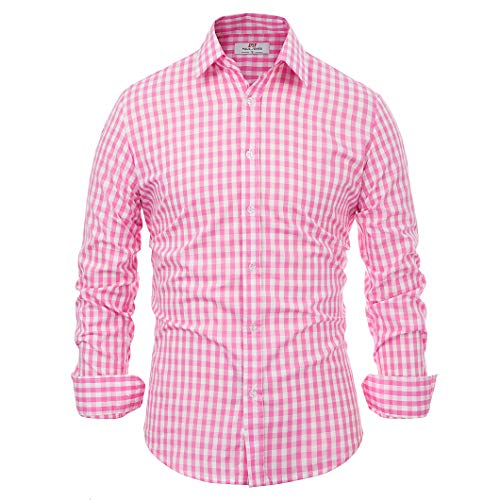 - Casual Fashion Smart Dress Shirt for Men Solid Long Sleeve Plaid Slim (XL) KL-4, Pink