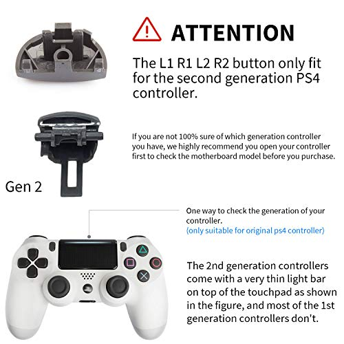 Z&Hveez Metal Buttons for PS4 Controller Gen 2, Metal Aluminum Bullet  Buttons & L1 R1 L2 R2 Triggers & D-pad & Thumbsticks Replacement Kit for  PS4