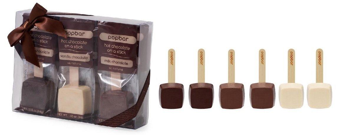 Hot Chocolate Sticks - 6 Pack Variety Gift Box - Dark, Milk, Vanilla White Chocolate