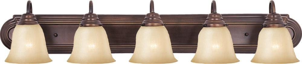 Maxim 8015WSOI, Essentials Glass Wall Vanity Light, 5 Light, 500 Watts, Oil Rubbed Bronze by Maxim
