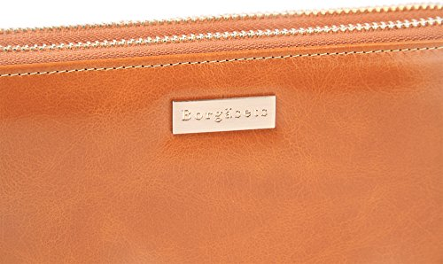 Borgasets Women's Long Leather Wallet Organizer Clutch with Wristlet Strap Brown