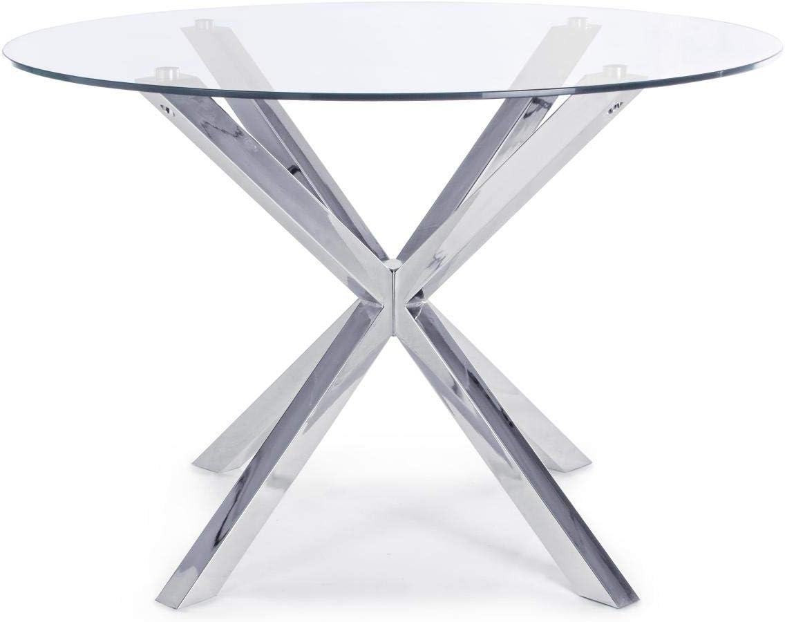 ARREDinITALY Table Top Verre Jambe Acier D114