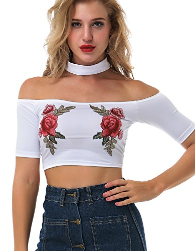 (The victory of cupid Women's Rose Embroidered Choker Neck Off Shoulder Bustier Short Crop Top T- Shirt Blouse Blouse T-Shirt)