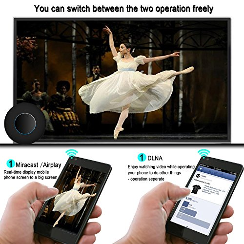 Innens Wifi Wireless HDMI and AV Dual Display Dongle Receiver, Full HD 1080P Display Adapter with Breathing Light, Supports Miracast/Airplay/DLNA for iOS/Android/Mac/Win8.1+ by Innens (Image #1)