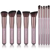 Qivange Makeup Brush Set, Soft Flat Labeled Kabuki Brush Foundation Bronzer Eyeshadow Makeup Brushes(10pcs, Coffee Gold)