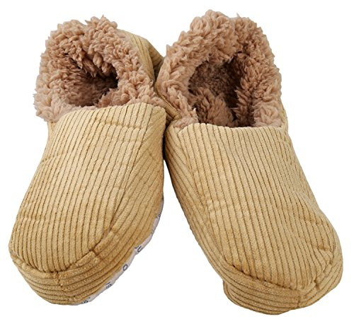 Snoozies Mens Corduriy Fleece Lined Slipper Sock Tan, Small