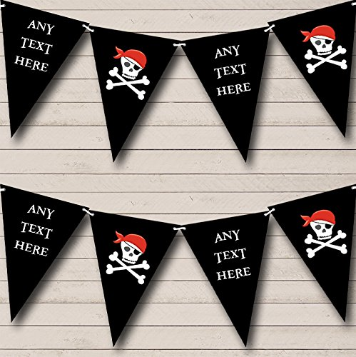 - Black Skull Crossbones Pirate Personalized Childrens Party Bunting Flags Banner