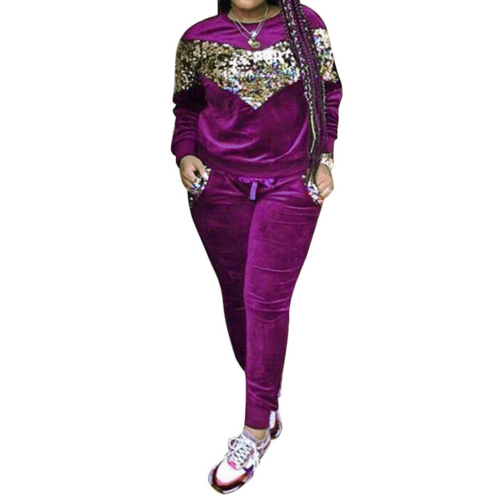 Salimdy Women's Two Piece Outfits Long Sleeve Sequin Velvet Sweatshirt and Long Pants Tracksuit Sweatsuits Set Purple Small