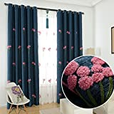 AliFish 1 Panel Pink Floral Dandelion Embroidered Blackout Curtains Room Darkening Thermal Insulated Grommet Window Curtains Blackout for Bedroom/Living Room W52 x L63 inch