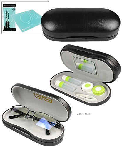 JAVOedge Black 2 in1 Eye Glasses Case and Contact Lens Kit Case