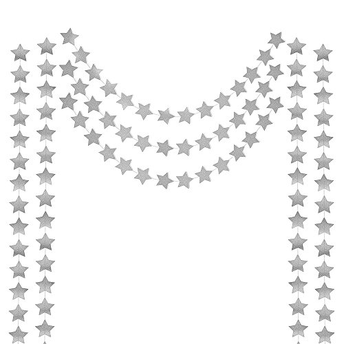 HONBAY 2PCS Silver Double Side Glitter Paper Star Garland Christmas Galaxy Banner Christmas Garland - 4 inch in Diameter,13 Feet Long/PCS (Silver)