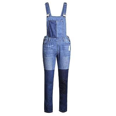 Fandecie Mujeres Color Azul Empalme Petos Pantalones Vaqueros del Dril de algodón del Diario Ocasional Holgado Bib Trajes Rectos: Ropa y accesorios